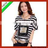2015Customer 100% cotton t-shirt women print t-shirt OEM