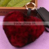 Myfur Mixed Colors Genuine Accessories Fur Heart-Shaped Keychain Bag Charm