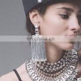 Punk Fashion Rivet Vintage Enthic Bohemia Metal Chain Drop Dangle Tassel Earrings Antique Gold Silver Statement Jewelry