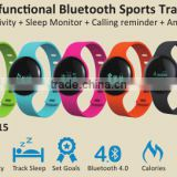 Bluetooth smart bracelet watch above IOS 6 Android4.0 App download Google play Appstore control by Smartphone