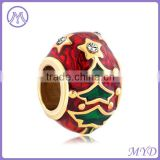 copper and 925 sterling silver Easter faberge egg bead charm fit globe European DIY bracelet