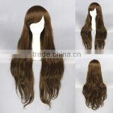 Fashion Asian 80CM long dark brown Lolita women wave synthetic hair cosplay wigs