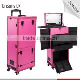 2016 DreamBaku hot sale pink multifunctional professional pvc trolley rolling makeup case with led lights