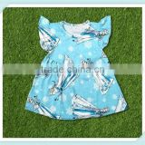 Latest style frozen elsa print girls summer dresses flutter sleeve dress for baby girl childrens boutique clothing dress