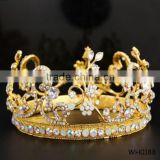 Top quality handmade bridal hair accessories luxury rhinestone crown gold plated hair accessories
