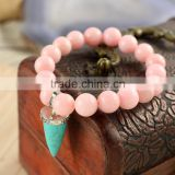 BRH0910 Pink dyed jade beaded& turquoise point charm stretch bracelet