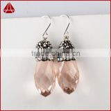 Rose quartz pave diamond new stylish jewelry, wholesale designer diamond earring, handamde diamond gemstone drop earring