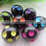 Colorful Large Big Size Polka Dot Beads, 20MM Round Resin Dip Dot Beads, Black Halloween Mix Color Resin Beads for Jewelry