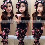 2016 girls summer princess dresses children cute floral baby clothing black cloths SD--13