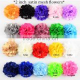 "Decorative 2"" satin mesh puff flower,silk fabric red flowers in15colors hair accessories wholesale"