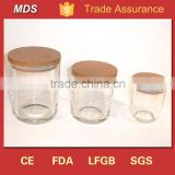 Best selling glass candle jars with wooden lids wholesale                                                                         Quality Choice
