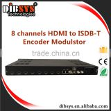 8 Channel H.264 digital rf modulator with hdmi to isdbt converter
