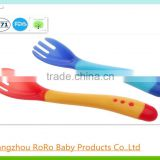 BPA free plastic fork and spoon set color change feeding supplies baby safety feeder products