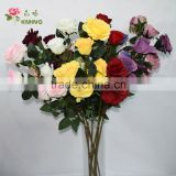 natural like artificial polyster metal rose flower for crafts 5 heads for home decoration