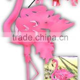 Lovely Pink Yard Flamingos Garden Stake Solar Glass Crackle Ball Lights
