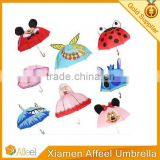 Kids Girls Boy Novelty Cartoon Ear Dome Hook Umbrella Rain Brolly Gift