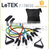 11pcs Resistance Band Set / Exercise Band with Door Anchor, Ankle Strap, Exercise Chart /Crossfit Latex Tube with Carrying Bag