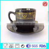 black coffee cup and sauser ceramic mug with logo                                                                         Quality Choice