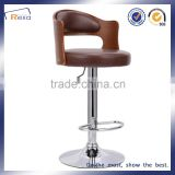 High quality brown leather up and down bar stool
