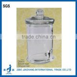 1 gallon glass jar wholesale glass drink dispenser with tap and Plastic ring glass lid PJ05
