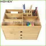Office Bamboo Desk Organizer with 3 Drawer/Homex_FSC/BSCI Factory