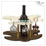 2013 New Style! Bar/hotel leather red wine rack YJ-4 with 4 glass holder, single bottle wine display rack for guest room