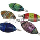 Dichroic Glass Pendants with Zinc Alloy platinum color plated mixed colors 20x49x7mm Hole:Approx 5x8mm 20PCs/Lot, Sold By lot