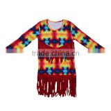 Unique design wholesale long sleeve tops with tassels kids girls abstract painting fashion boutique outfits factory clothing new