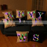 Wholesale LED Pillow Letters Shining Led Light Pillow Cover Luminous Pillow Christmas Toy Cushion