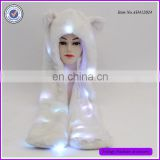 Hot Selling White Kitty Style Glitter Lighting LED Animal Hoodies Hats