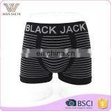 Top level underwear manufactur seamless black and white stripe custom boxer shorts