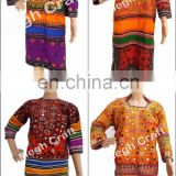 Afghani Embroidered Tunic -Balochi Afghan Tunic- Afghani Mirror Work Tunic -Vintage Tunic Tops-Tribes Costumes Kurta Tunic