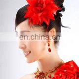 Handmade Red Feather Bridal Headpiece Flower Wedding Head Decoration Elastic Head Band Fashion Flower Brooch Hand band