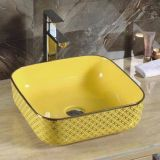 2018 latest square yellow ceramics bathroom tabletop no hole wash hand basin sink