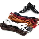 Premium Shoe Laces Cotton Thin Dress Black Leather Waxed Custom Round Shoelaces