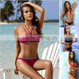 Fashion Sey Bikini 2016 Swimwear Women High Neck Swimsuit Push Up Summer Bathing Suit Beachwear Biquini maillot de bain