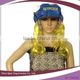 girls fashion fake hair wig attached blue hats