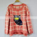 Batwing Mohair Sweater for Women Cute Pattern Knitting Loose Sweater