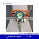 Traditional classic style Quartz watch F-05 woman with Wing pendant,leather strap, bronzed watch case