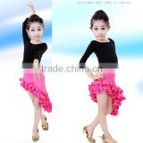 The new children's Latin dance costumes stage performance clothing with curl lace of the girls dress uniforms three-piece suit