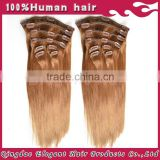 Promotion wholesale price silky straight 6A clip in human hair extensions 300g