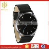 Stylish Jewelry Stainless Steel Blue Second Hand Tan Leather Strap Black Face Watch
