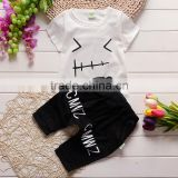 2016 new korean style children clothing set baby boy white shirt and black pant piece suit wholesale