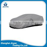Insulated waterproof breathable fabric gray car cover with strong double sewing and elastic band