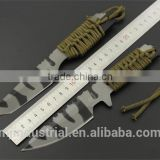 Stainless Steel Camouflage coated cutting knife,Hunting Fixed Blade Knives With Rope