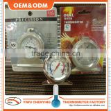Kitchen Dial oven thermometer stainless steel material hangs or stands style suitable for fridge/kitchen arrow scale cheap price