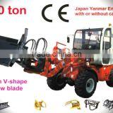 1ton loader with cabin load hydraulic,Japan YANMAR engine 34hp,hydraulic drive system,4in1 bucket CE prove