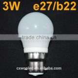 High Quality SMD 2835 3W LED Globe Bulb Light E27 B22 AC85-265V White / Warm White b22 bulb For Home Decoration