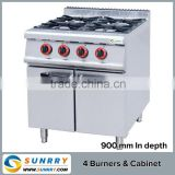 Commercial gas burner - 4 burners and 1 cabinet with gas burner nozzle gas cooking range in pakistan (SUNRRY SY-GB900A)