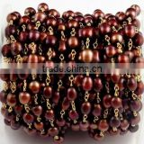 3 Feet Genuine Bronze Freshwater Pearl Rice Shape Tiny Pearled Rosary Style Beaded Chain 24k Gold Plated